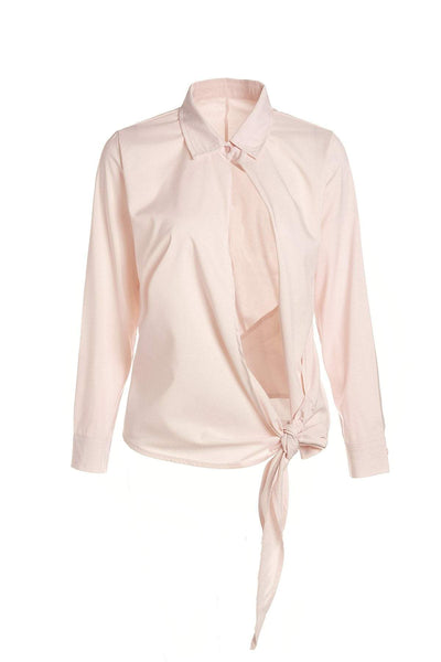 Turn-Down Collar Long Sleeve Tied Pink Chiffon Blouse