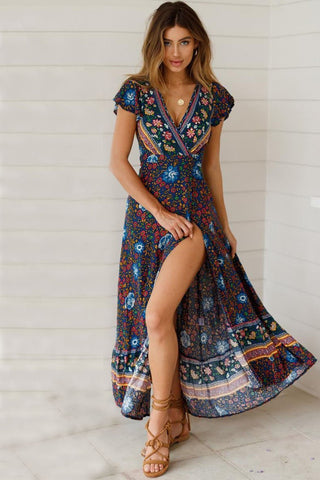 Stylish V-Neck Printing Maxi Dress
