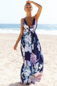 Floral V-Neck Backless Maxi Dress