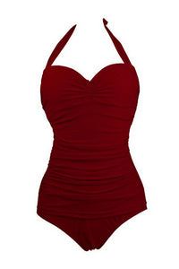 Candy Color Pleated One-Piece Swimwear