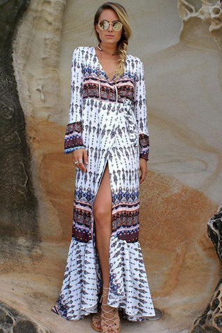 Vogue Boho Lace-Up Maxi Dress