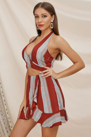 Sexy Halter Cut-out Stripe Day Dress