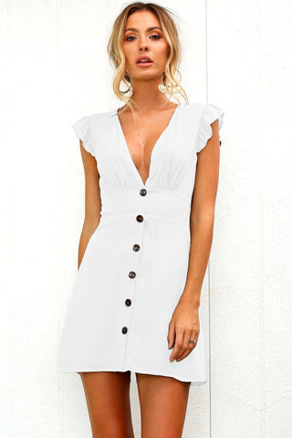 Sexy Deep-V Button Day Dress