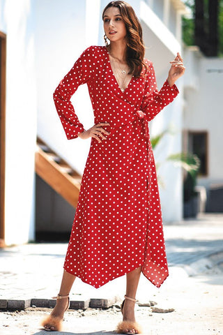 Stylish Polka Dots Lace-Up Maxi Dress