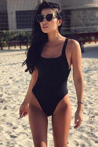 Pure Color Backless Criss-Cross Swimwear