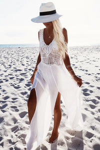 Chic Patchwork Slit Maxi Dress