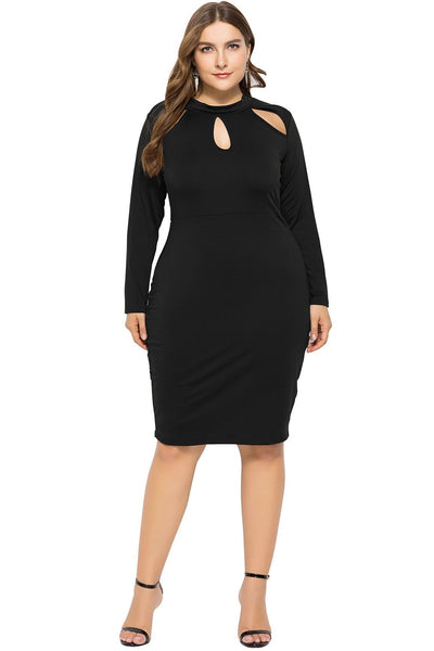 Solid Color Cut-Out Long Sleeve Bodycon Dress