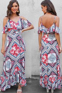 Printing Off-Shoulder Maxi Dress