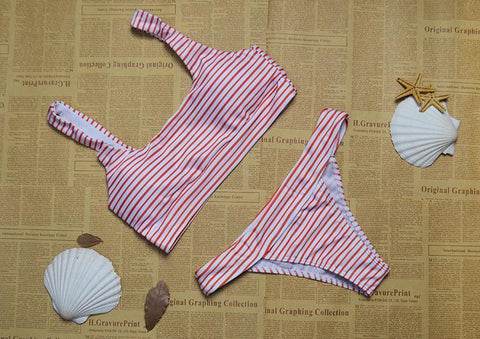 Simple Stripes Designed 2-Piece Swimwear