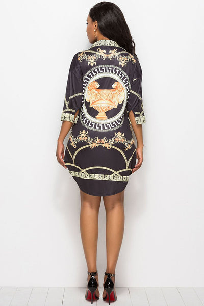 Vogue Printing Turn-Down Collar Bodycon Dress