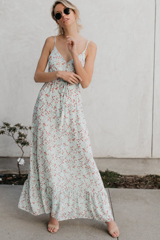 Chic Floral Spaghetti Strap Maxi Dress