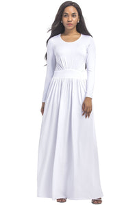 Pure Color Pleated Round-Neck Maxi Dress