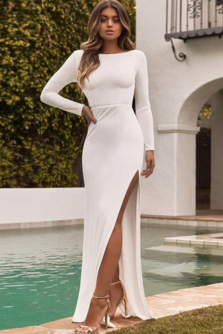 Elegant Side-Slit Backless Party Dress