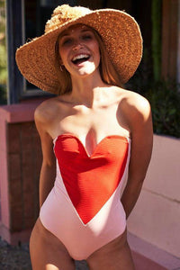 Chic Color Block Heart Designed Swimwear