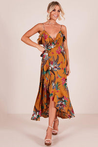 Chic Floral Asymmetrical Maxi Dress