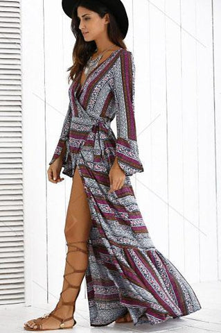 Stylish Printing Slit Maxi Dress