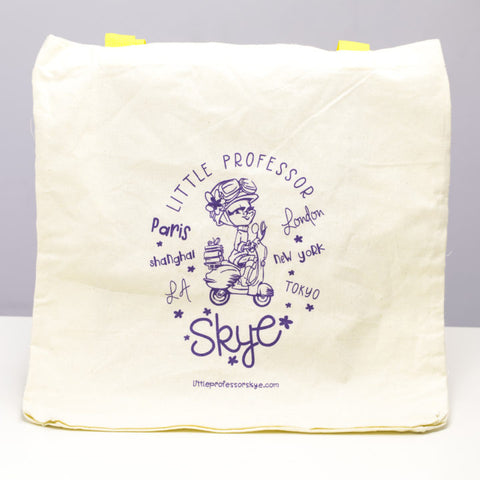 Little Professor Skye Natural Tote Bag with Yellow Handle