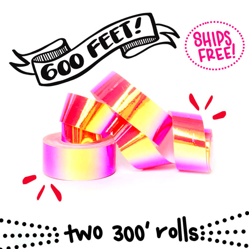 Ships Free: Nuclear Bubblegum Color Shifting Tape OPAQUE TWO (2) JUMBO ROLLS 3/4-inch x 300 FT [Final Sale Item]
