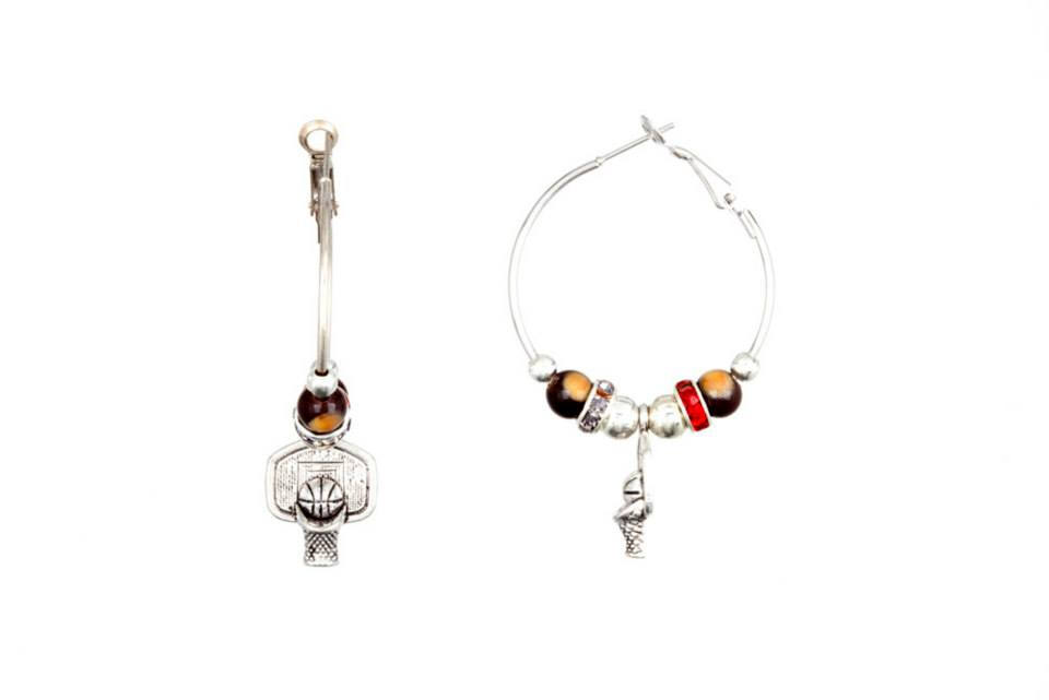 The Buckeye Bead Basketball Hoop Bling Earrings
