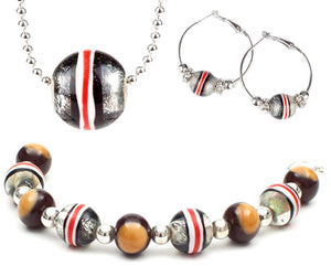 The Buckeye Bead Ohio State Helmet Stripe On A Chain Necklace