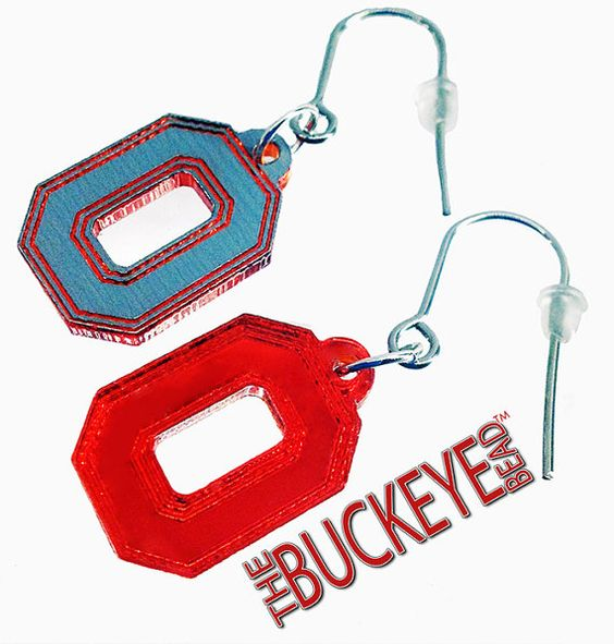The Buckeye Bead The Ohio State University Block O Reversible Mirror Earrings