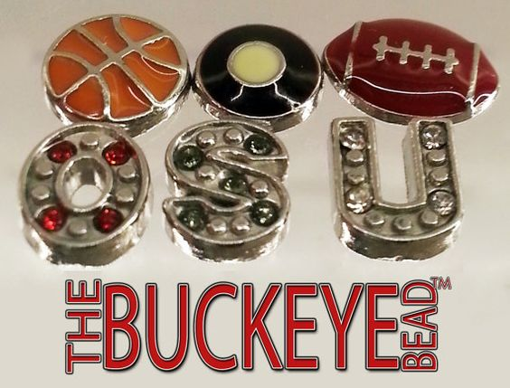 Block O Floating Locket Ohio State University Buckeyes Plus Six Charms