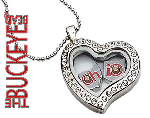The Buckeye Bead Oh-Io State Floating Locket Charm Set Of 2