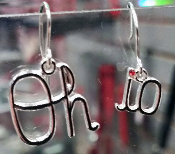 Oh-io Dangle Earrings Red Crystal Dot of the i Ohio State Buckeyes Jewelry OSU Ohio State