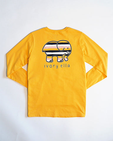 Buff Yellow Stripes LS Ella Tee