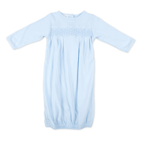 Essentials Smocked Gown - Light Blue
