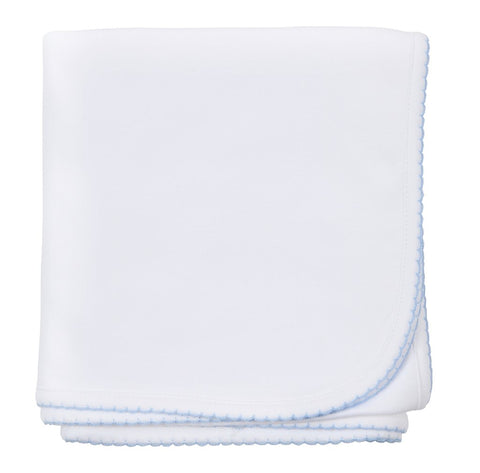 Essentials Blanket - White w/ Lt Bl Trim