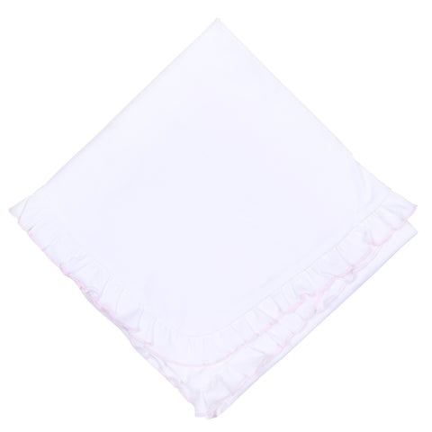 Essentials Ruffle Blanket - White