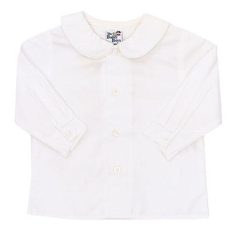 White Peter Pan Collar L/S Top - Boys (Buttons in Front)