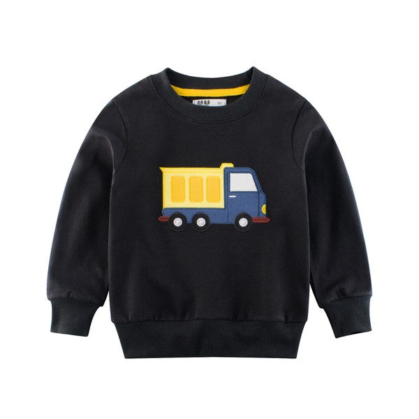 Truck Applique Sweatshirt - Black