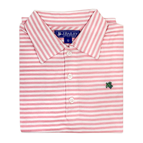 Short Sleeve Stripe Polo - Pink/White