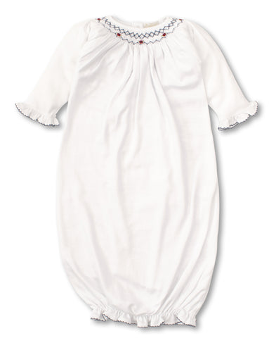 CLB Summer Bishop Smocked Sack - White/Navy