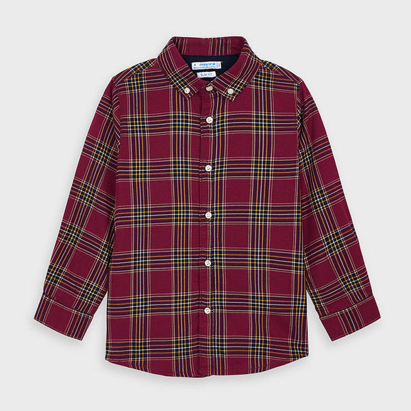 Plaid LS Button Up - Burgundy