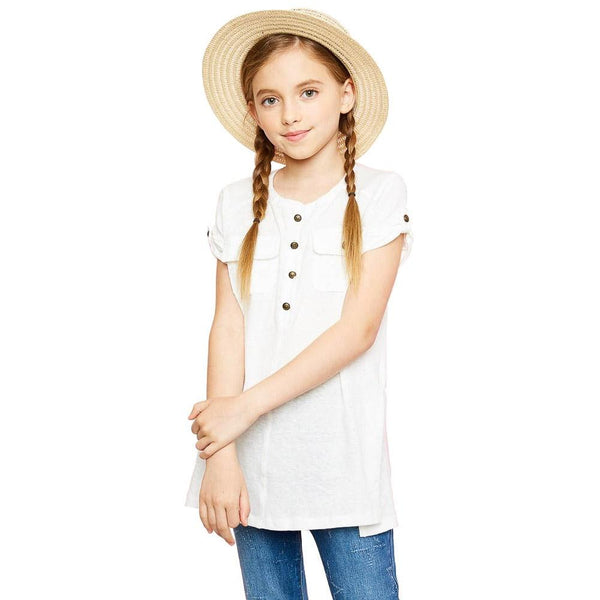 Button Up Rolled Sleeve Tee - Off White