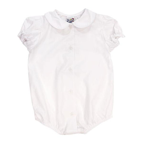 White Peter Pan Collar S/S Bodysuit - Girls