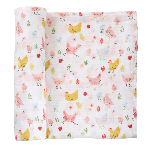 Chicken Muslin Swaddle Blanket