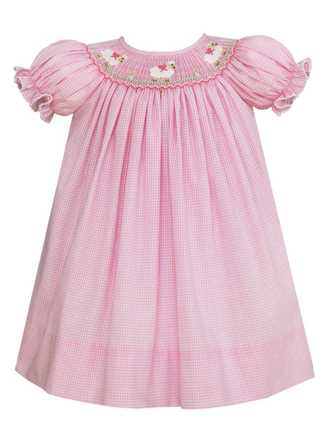 Baby Lambs Bishop Dress/ Light Pink Mini Check