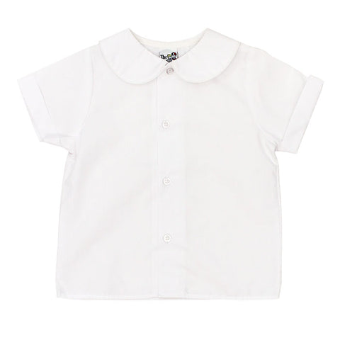 White Peter Pan Collar S/S Top - Boys