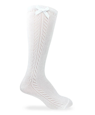 Pointelle Bow Knee Socks