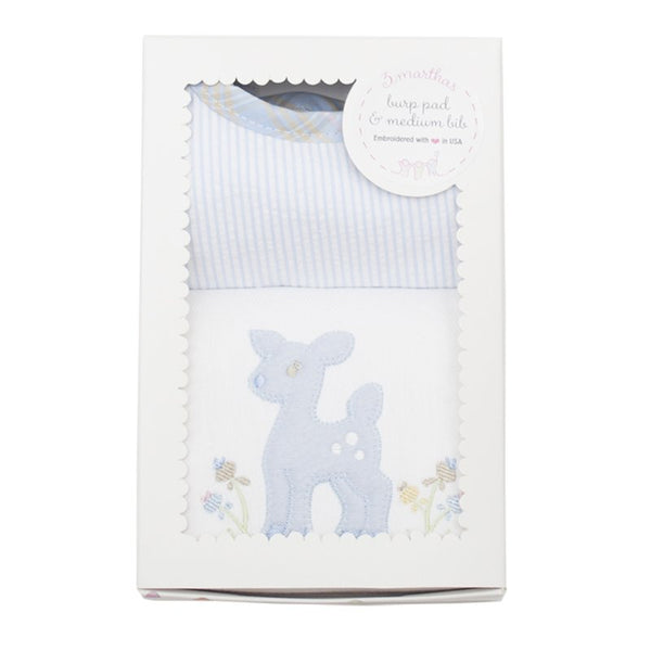 Blue Deer Bib/Burp Set