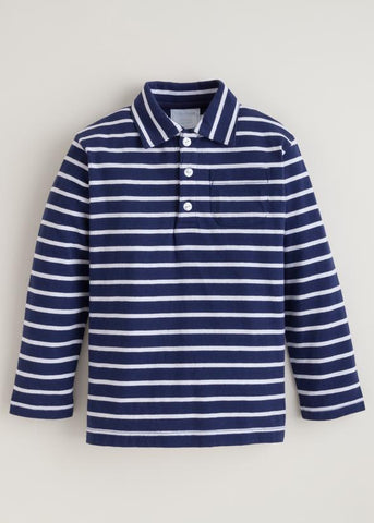 Long Sleeve Striped Polo - Navy/White