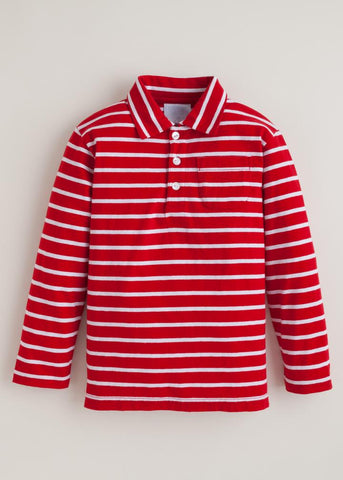 Long Sleeve Striped Polo - Red/White