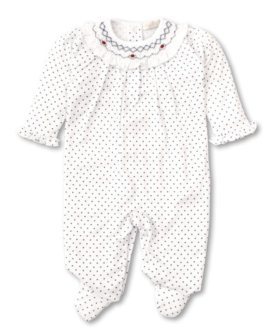 CLB Summer Bishop Smocked Footie - Navy