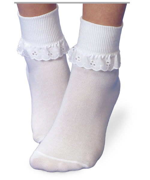 White Eyelet Ruffle Socks