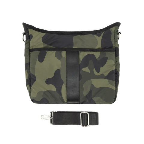Puffy Nylon Crossbody with Changeable Strap - Green Camo