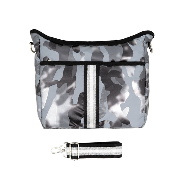 Puffy Nylon Crossbody with Changeable Strap - Gray Camo